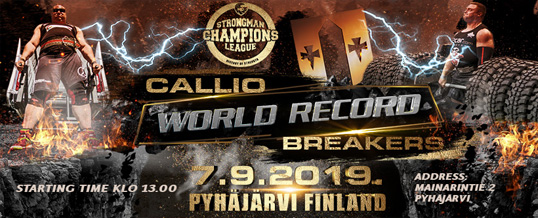 Strongman Champions League Callio World Record Breakers-kilpailu Pyhäjärvellä 7.9.2019