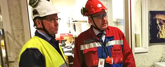 Elinkeinoministeri Mika Lintilä vieraili 19.2. Pyhäsalmen kaivoksella