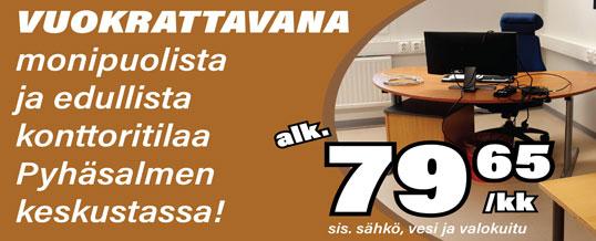 Vuokrattavana monipuolista ja edullista konttoritilaa Pyhäsalmen keskustassa!
